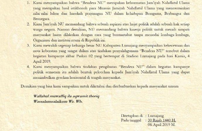 Pelecehan! NU Lumajang Protes Sandiaga Kibarkan Bendera NU di Kampanye