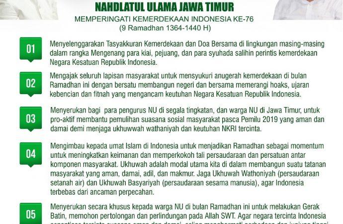 Pesan Kebangsaan PWNU Jawa Timur, Ingatkan Momen Proklamasi Ramadhan
